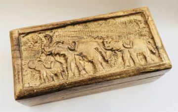"6x2.7"" CARVED Mango Box ELEPHANT FAMILY DESIGN"